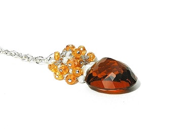 Apricot Brandy Gemstone Necklace / Madeira Citrine Pendant / Wire Wrapped / Sterling Silver / Rust / Orange Quartz / Gifts For Her / OOAK