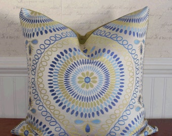 SALE ~ Decorative Accent Pillow Cover: 20 X 20 Jacquard Mosaic Medallion in Lime and Azure