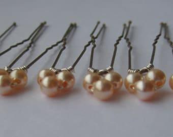 Peach Triple Bridal Hair Pins, Wedding Hair Pins, Pearl Bobby Pins, Swarovski Hair Pins, Single Pearl Hair Pins - Set of 6 Hair Pins