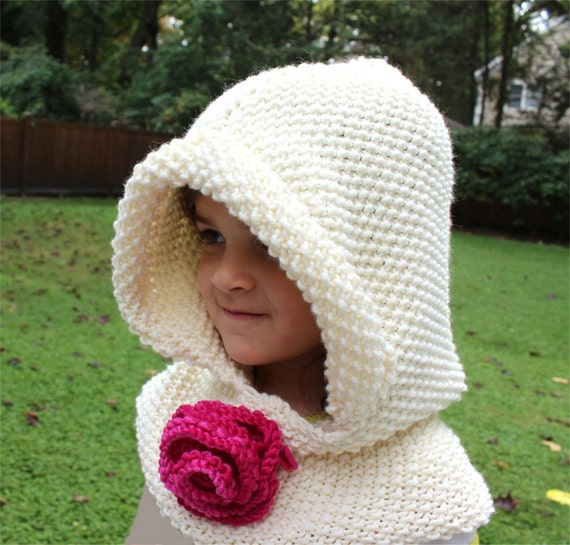 Childrens Hood Knitting Pattern : Knitting PATTERN Hooded Cowl PDF child knitting pattern
