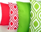 Christmas Throw Pillows Decorative Cushion Covers Red Green White BOTH SIDES - Combo Set of Four 18 x 18 - fabricjunkie1640