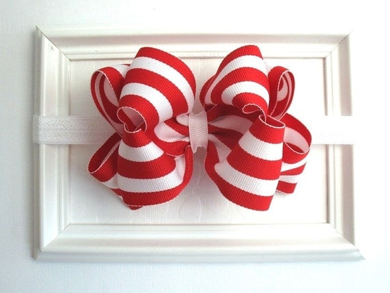 Baby Christmas Headband, Candy Cane, Red and White Stripe Boutique Bow Band, Newborn Christmas Headband, Baby Christmas Photo Prop, Baby Bow