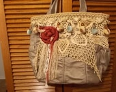 Final Sale,Treasured,Gypsy Bag, purse, zip close and shabby rolled flowers and lace trim, OOAK, BoHo, shabby chic, Hobo bag, womens