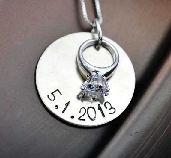 Anniversary Necklace, Personalized Jewelry, Custom, Wedding Date, Bridal, Gift for Her, Bride Necklace