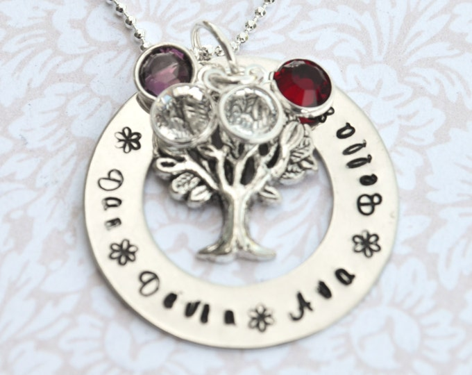 Personalized Mother's Necklace, Hand Stamped Jewelry, Custom Neckace, Mom, Mommy, Mother, Birthstone, Washer Necklace