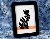 Personalized Dog or Cat Name Art Silhouette Print, 5x7 Framed Print, Easel Back Black Frame