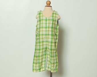 vintage 1970s baby boy's green plaid overalls - bibs