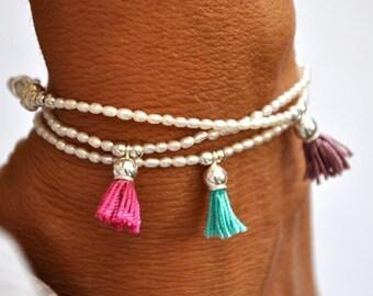 Fresh water pearl and sterling silver tassel bracelet. Tassel Bracelet.