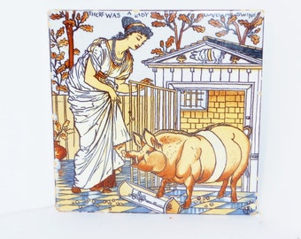 Vintage Walter Crane Tile Nursery Rhyme Lady and the Swine, Home