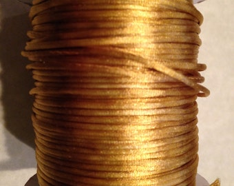 1mm Satin Cord, Mousetail / Rattail / Bugtail, Antique Gold 5 yards