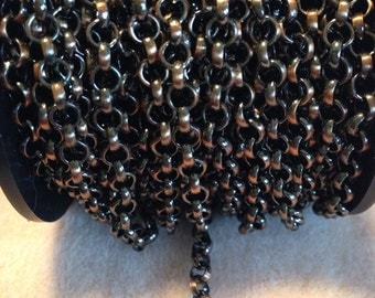 4.5mm rollo chain perfect for leather weaving, antique copper, by the foot.