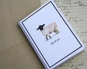 Sheep Lamb Thank You Note Notecards with Black Border. Set of 8. Handmade Thank You Notes Packaged. Farm Animal