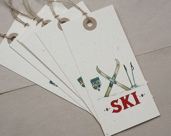 6 Ski Alpine Nordic Gift Tags, Cream Recycled Paper, Set of 6, Large Jumbo Heavy Cardstock Recycled Oversize Tags