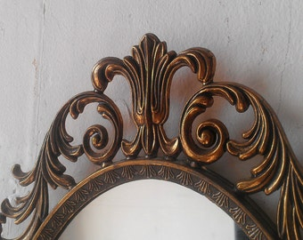 Princess Wall Mirror in Vintage 13x10 Inch Patina Brass Oval Frame, Baroque Mirror, Vintage Apartment, Wall Decor, Decorating Ideas