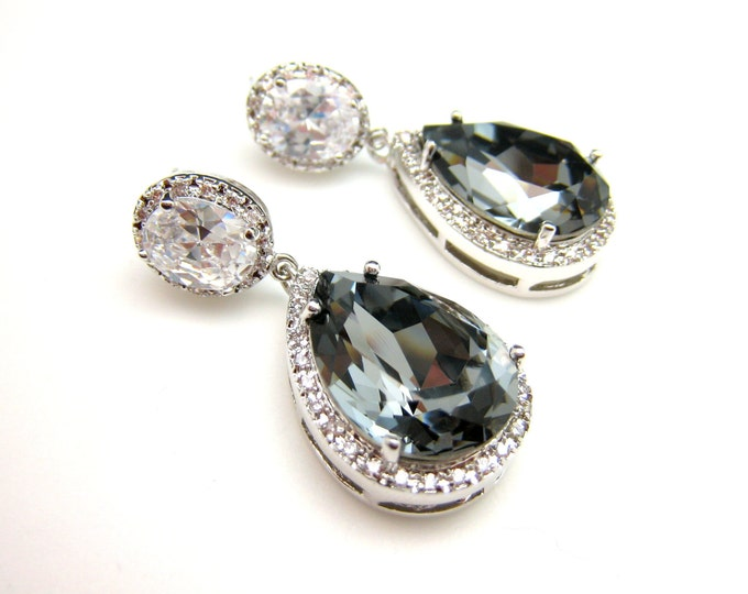 clip ons wedding jewelry bridal bridesmaid gift prom party christmas Clear teardrop cubic zirconia and swarovski silver night crystal oval