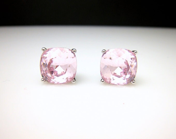 christmas prom bridal wedding bridesmaid gift Swarovski rosaline pale pink square cushion cut foiled rhinestone silver stud earrings