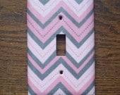 Pink & Gray Chevron Light Switch Cover