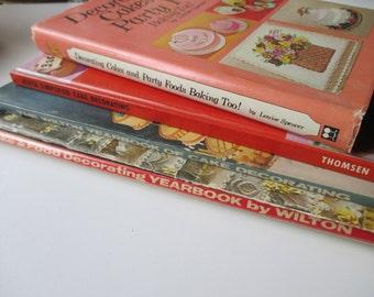 5 vintage cake decorating books - Wilton, Ateco, crafts,  birthday, wedding