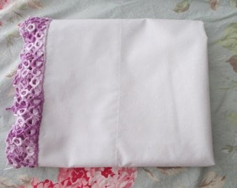 Lovely Vintage Cotton standard PILLOWCASE - hand crocheted lace, tatted