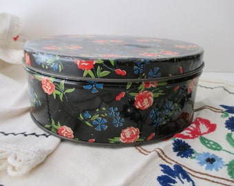 round black floral DECORATIVE TIN- pink, roses, flowers