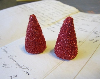 red glittered horns - 1.25 inches - for fascinators, headbands, barettes, costume, hats and more