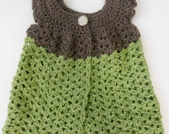 TAUPE-GREEN PINAFORE Hand Crochet Girls Cardigan Sweater Shrug 9 - 24 months Baby Glam Luxurious Wool Bamboo