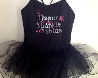 Dance Leotard- Rhinestone Dance Girls Sparkle and Shine on Spaghetti Strap Ballerina Tutu Leotard