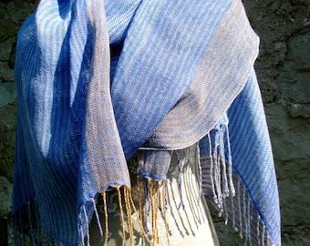 Handwoven Linen Flax  Scarf (Shawl)- Pastel Stripes-  Blue, Lavender Light, Peach, Amber,