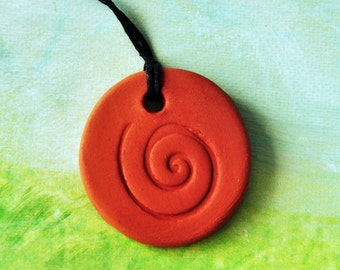 Clay Aroma Pendant - Ceramic Essential Oil Diffusor with Spiral Design- Functional Jewelry
