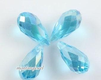 Sky Blue AB Crystal Teardrop Beads Glass Briolette Beads 6x12mm Qty 4