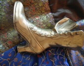 Victorian Granny Boot Vase Vintage Brass