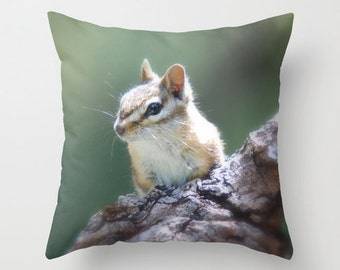 Chipmunk Pillow Cover, Throw Pillow, Cabin Decor
