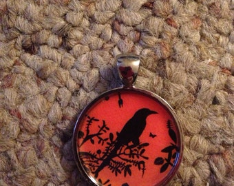 Black & Orange Bird Image Pendant Necklace-FREE SHIPPING-