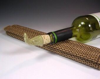 Wine bottle stopper cork, ceramic wine stopper, ceramic wine bottle stopper, pottery wine cork with stoneware topper in yellow glaze