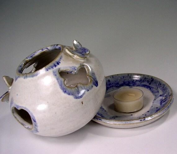 Tea light candle holder, ceramic candle burner, pottery tea light candle holder with hearts and butterflies.