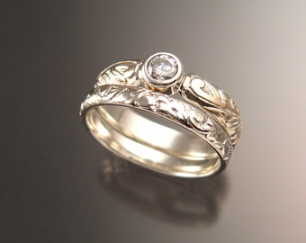 White Sapphire diamond substitute Victorian floral pattern two ring Wedding set crafted in 14k white gold made to order in your size