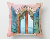Italian Window Watercolor Painting Throw Pillow Cover