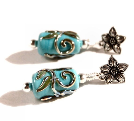 Turquoise & Silver Glass bead earrings Artisan Lampwork glass turquoise blue with silver swirls sterling beads flower posts