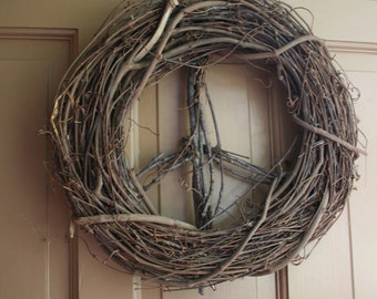 "14"" Peace Sign Grapevine  Twig Wreath --plain"