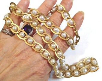 Pearl Necklace Wrapped in Gold Chain Link with Silver Pearls in Satin Marine Link Motif - Vintage 70's Simulated Pearl Costume Jewelry