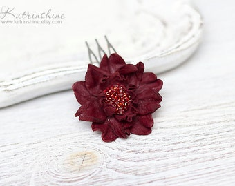 Bridal dark red leather flower comb - set of 1, Wedding accessory, Floral hair accessory, Bridesmaid Gift