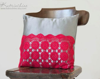 Silver grey and red Pillow Cover With Crocheted Doily Applique OOAK decorative accent pillow