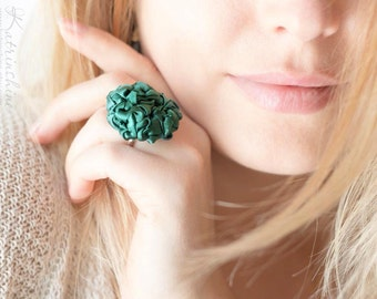 Dark green fabric rosette ring Party ring Fibre Art Flower