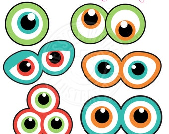 Monster Eyes Cute Printable Birthday Party Favors - Printable Monster Eyes, Monster Faces, Monster Party Printable