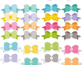 Just Bows Cute Digital Clipart - Commercial Use OK, Little Bows Clipart, Bow Graphics, Ribbon Bows, Patterned Bows for Girls Clipart