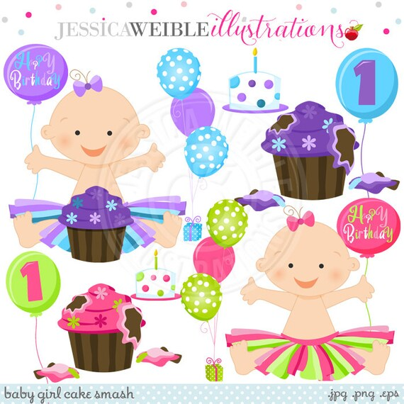 Smashed Cake Clipart : Baby Girl Cake Smash Cute Digital Clipart for Card Design