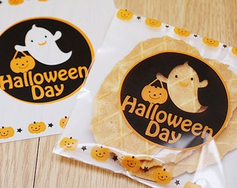 20 Halloween Ghost Self Sealing Bags (5.1 x 5.1in)