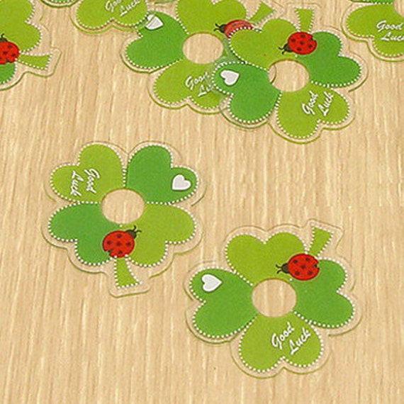 10 Clear Ties - Green Clover (1.6 x 1.6in)