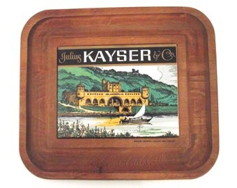 Vintage Julius Kayser and Co. Cheese Cutting and Serving Board, Wood and Ceramic