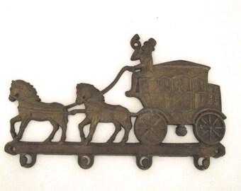Vintage Brass Stagecoach Shaped Key Rack